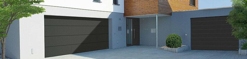 Garagen-Sektionaltore in satin grey